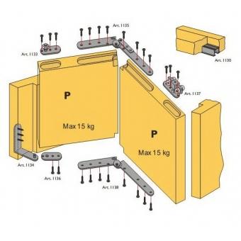 Beltéri ajtóvasalat szett harmonika ajtóhoz 2 ajtóra 15kg/szárny