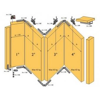 Beltéri ajtóvasalat szett harmonika ajtóhoz 4 ajtóra 40kg/szárny