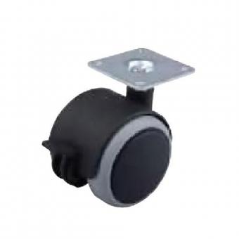 Fotelgörgő gumis 40mm talppal fékkel fekete