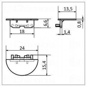 LED alu profíl GROOVE végzáró szürke (1 pár)
