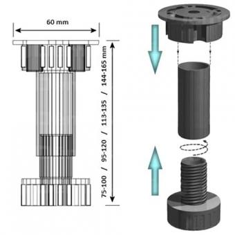 Szokliláb Eko 10cm műanyag fekete szétszedhető